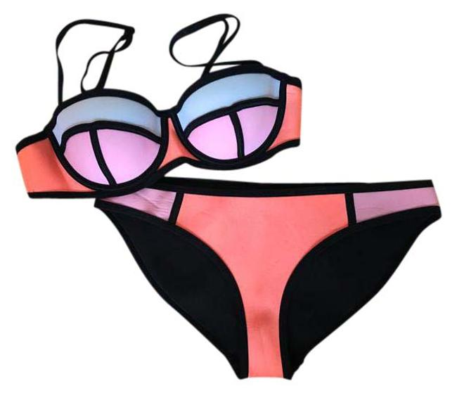 Item - Pink Orange White Poppy; Peach Soda Bikini Set Size 4 (S)
