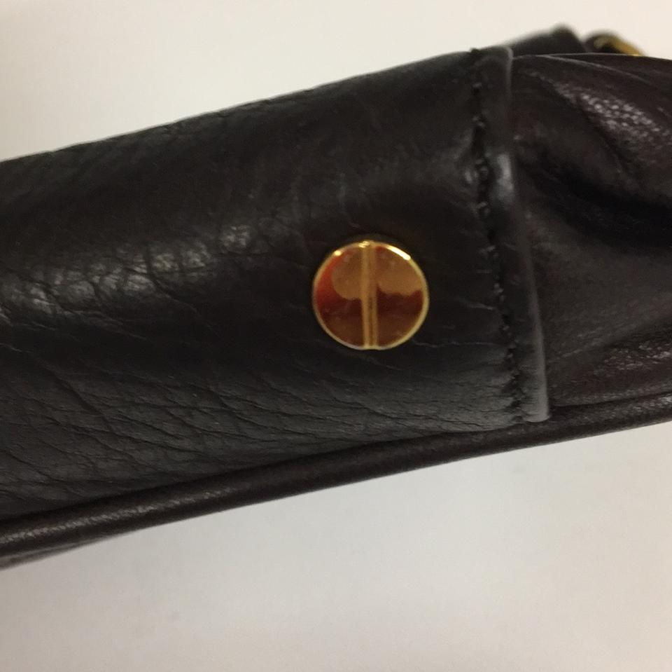 Burch Tory Clutch Brown Leather Dark 4SSfAqZ