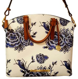 Brahmin Satchel in White and Blue