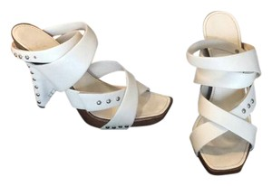 Chanel Box says white, true color is more of a light cream Sandals
