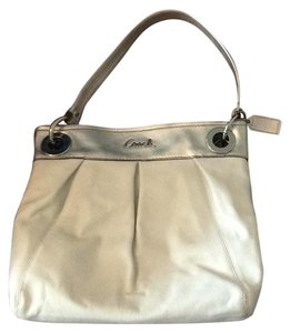 Coach Tote in With Matching Wallet white with metallic silver accent