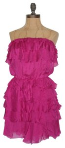 Jaloux Ruffle Strapless Tiered Silk Dress