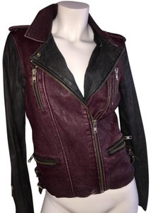 IRO Motorcycle Leather Classic Oxblood and Black Leather Jacket