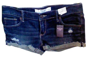 Abercrombie & Fitch Cut Off Shorts dark blue denim