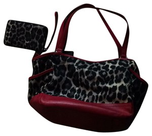 Coach Tote in red with black/cream animal print