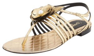 Chanel Gold/black Sandals