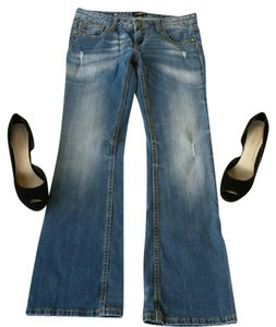Express Faded Relaxed Boot Cut Jeans-Distressed