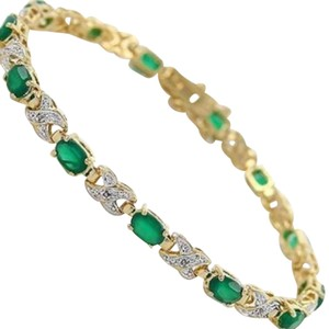 Other Exquisite Green Agate & Diamond Bracelet