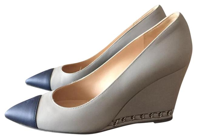 Item - Navy Gray Toe with Chain Wedges Size US 7.5 Regular (M, B)