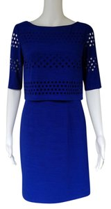 Tahari short dress Blue Laser Cut Sheath Slinky on Tradesy