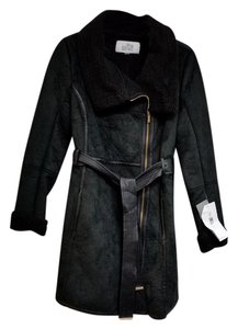 Badgley Mischka Shearling Short Belt Warm Moto Fur Coat
