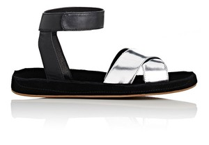 Barneys New York Suede Crisscross Strap Ankle Strap Metallic black and silver Sandals