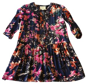 Maeve short dress Dark blue with pink and orange flowers on Tradesy