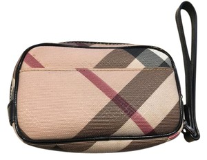Burberry Leather Checkered Wristlet in Beige Check