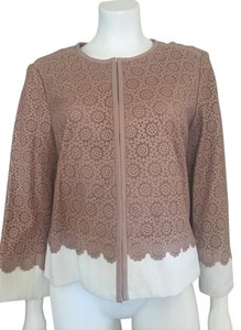 Tory Burch Perforated Leather Spring Back Pleat 60s Champagne Blush Leather Jacket