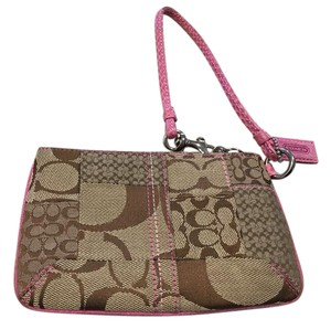Coach Signature Fabric Wristlet in Beige