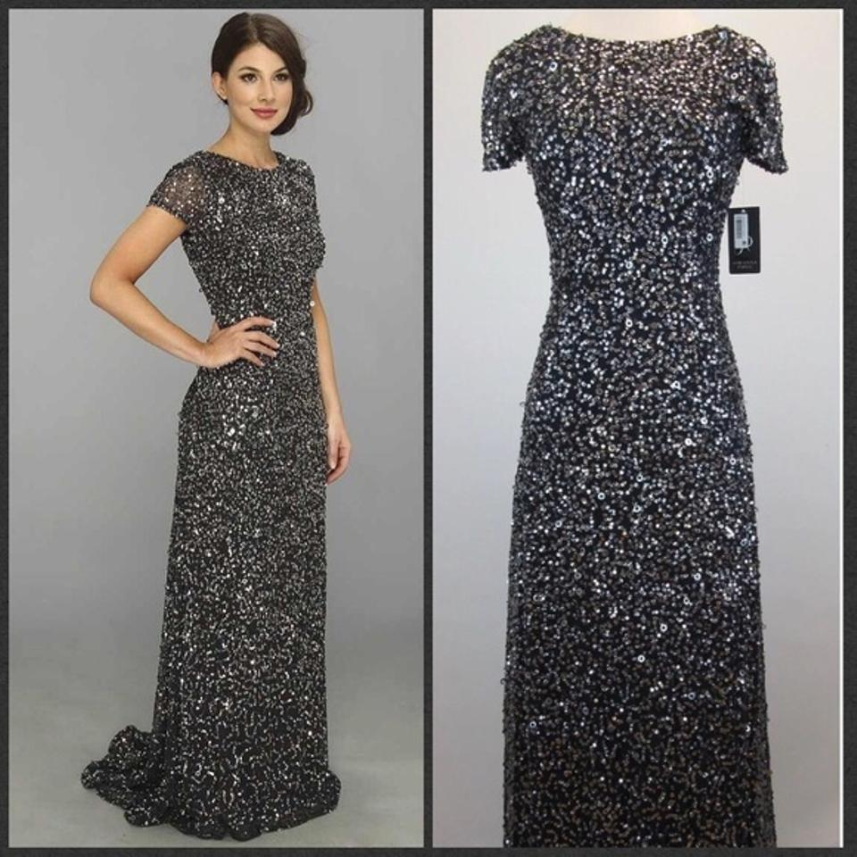 Fancy Adrianna Papell Dress Elbow Sleeve Sequined Beaded Gown Model ...