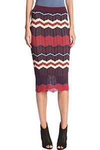 Torn by Ronny Kobo Stretchy Striped Print Chevron Pencil Skirt Red