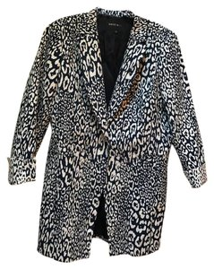 Lafayette 148 New York Long Leopard Contrast Cuffs Navy and ivory Blazer