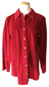 J. Jill Jill Cotton Button Down Shirt Red