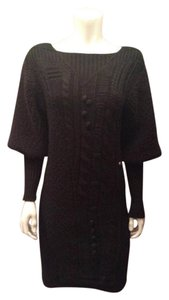 Chanel short dress Black Wool Cashmere Ribbed on Tradesy