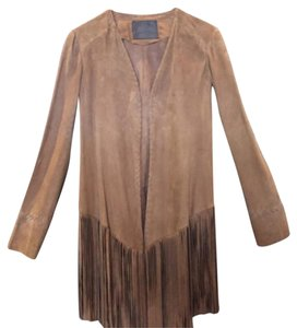 Abbot Suede Fringe Coat Tan Leather Jacket
