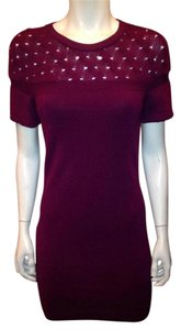 Chanel short dress Burgundy/Plum Sweaterdress Cashmere Cream White on Tradesy