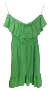 Lilly Pulitzer short dress Green Floral Button Cotton Strapless on Tradesy