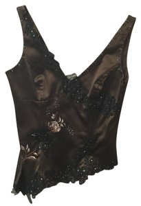 Adrianna Papell Top Dark brown with black lace and beading
