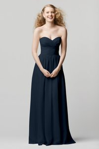 Watters Navy Blue Inna Chiffon Wtoo By Style 601 Formal Bridesmaid/Mob Dress Size 4 (S)