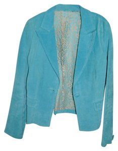 Karen Kane Lace Lining Cropped Blazer Turquoise Suede Leather Jacket