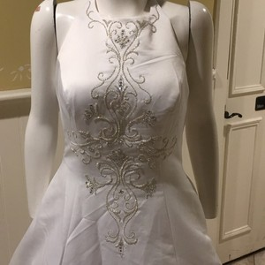 White Halter A Line With Train Wedding Dress