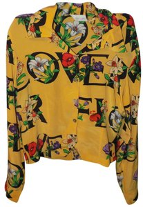 Peter Martin Silk Vintage Retro Classic Bright Top Yellow