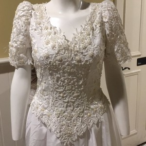 Bonny Bridal Short Sleeve A Line With Train Wedding Dress