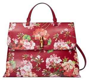 Gucci Bamboo Leather Floral Front Flap Satchel in Red