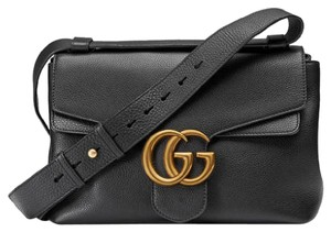 Gucci Marmont Gg Nwt Grained Leather Shoulder Bag