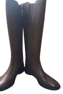 Tory Burch Gored Elastic Leather Lining Full Back Closure Coconut /Brown Boots