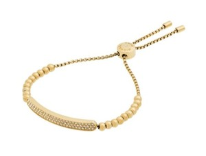 Michael Kors NWT MICHAEL KORS LOGO PLAQUE PAVE GOLD TONE ADJUSTABLE BEADED BRACELET