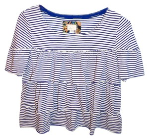 Anthropologie T Shirt blue and white stripe