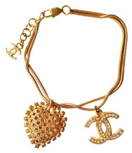 Chanel Authentic Chanel Gold Rhinestone CC and Heart Dangle Bracelet