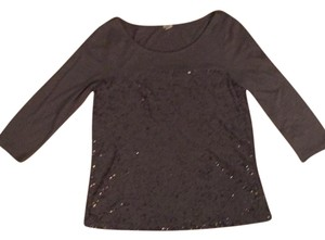 J.Crew Sparkle Sequin Metallic Silver Comfortable Top Silver/Gray Metallic