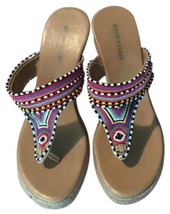 Colin Stuart tribal style bead wedges rope wedge with multi color beading Wedges