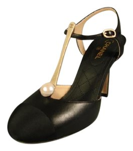Chanel New Gold T-strap Black Pumps