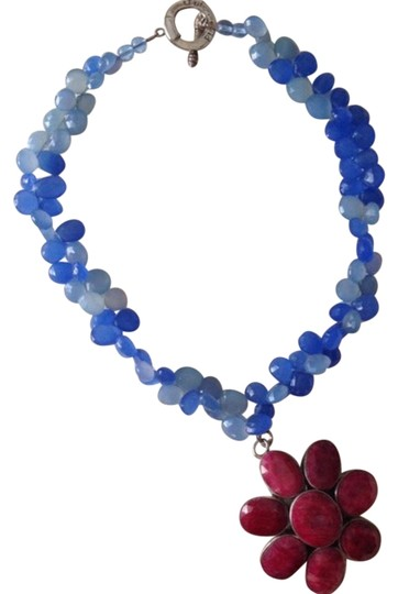 Preload https://item3.tradesy.com/images/ruby-blue-silver-raw-and-semi-precious-stone-2-way-necklace-2058517-0-0.jpg?width=440&height=440