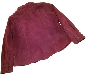 Ami Suede Marroon Coat Burgundy Leather Jacket