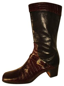 Brighton Leather Croc Midcalf black & brown Boots