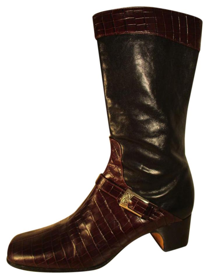 a5b35582fd5 Brighton Black & Brown Gabby Croc Embossed Leather Mid Calf Boots/Booties  Size US 9 Narrow (Aa, N)