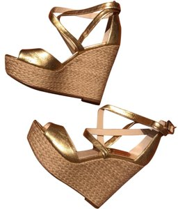 Michael Kors Gold Leather Wedges