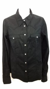 True Religion Black Cotton Blouse Button Down Shirt