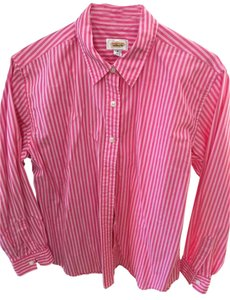 Talbots Striped Cotton Blouse Button Down Shirt pink and white